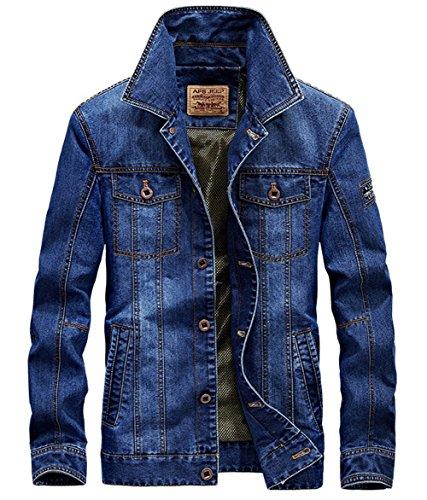 Fit Trucker Slim Blue Coat Jacket Denim Men's Long Sleeve Denim qaBtTwUH