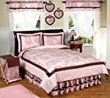 Pink and Brown French Toile and Polka Dot Childrens Bedding 4 Piece Teen Girls Twin Set