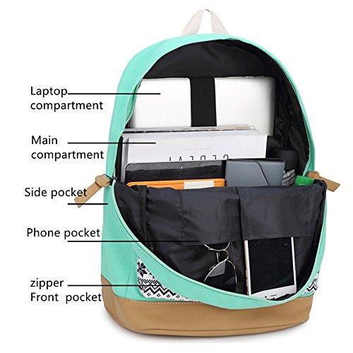 School Backpacks for Teen Girls Lightweight Canvas Backpack Bookbags Set (Light Green) by CAMTOP (Image #3)