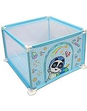 deAO Parc pour Bébé et Petits Enfants Aire de Jeux Bébé Gym Comprend des Balles de Couleurs (Carré Bleu)