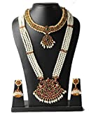 Fashion205 4 Line Long Pearl Haram With Pendant And Short Necklace With Earrings For Women
