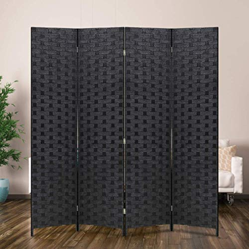 Room Divider Wood Screen 4 Panel Wood Mesh Woven Design Room Screen Divider Folding Portable Partition Screen Screen Wood For Home Office (Renewed)