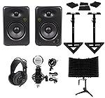 "(2) Rockville ASM5 5"" 200W Studio Monitors+Stands+Pads+Headphones+Mic+Shield by Rockville"