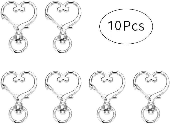 10 pcs DIY Metal Snap Hook Heart Lobster Clasp Lanyard Pendant Key Ring Keychain