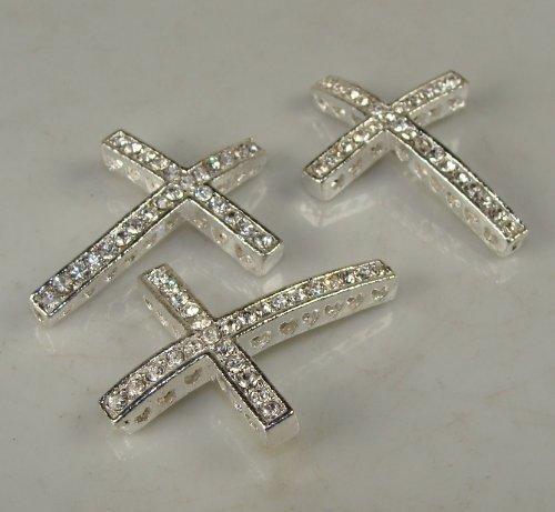 Rhinestone Cross Pave Silver W/crystal 3 Each 25mmx35mm