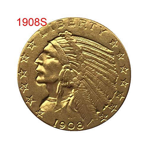 Smartcoco 1908/1926 Antique US Commemorative Old Eagle Coin Gold Plated Collectible Indian Head Coin Crafts Art Souvenir Decorations (10 Pack)
