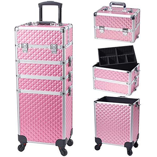 Stagiant Rolling Makeup Train Case Large Storage Cosmetic Trolley 4 in 1 Large Capacity Trolley Makeup Travel Case with Key Swivel Wheels Salon Barber Case Traveling Cart Trunk - Pink