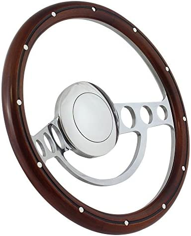 "IDIDT FLAMING RIVER custom column steering wheel Red Bowtie 15/"" CLASSIC WOOD"