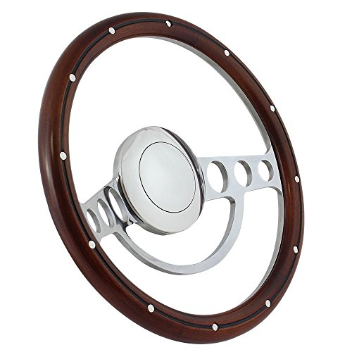 Hot Rod Street Rod Rat Rod Chrome & Dark Mahogany Steering Wheel 14