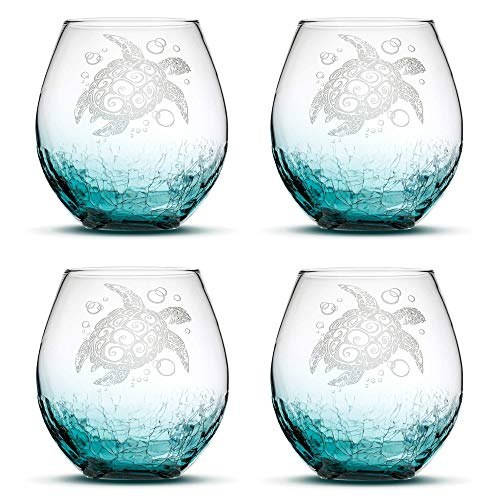 Set of 4, Sea Turtle Stemless Wine Glasses, Crackle Teal, Made in USA, Tribal Design, Hand Etched Gifts, Sand Carved by Integrity - Carved Hand Turtle