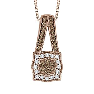 Brown and White Diamond Fashion Pendant with Chain in 10K Rose Gold (3/8 cttw, Colour GH, Clarity I2 I3)