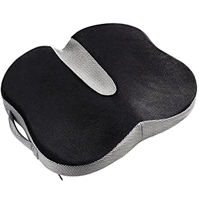 HUKOER Seat Cushion | Back Support, Tailbone and Sciatica Pain Relief, Washable Cover Orthopedic Design To Relieve Back, Sciatica and Tailbone Pain (Black With Gray)