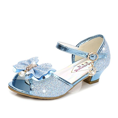 Osinnme Girls High Heel Shoes Size 1 M Blue Big Kid Girls Princess Rhinestone Wedding Sequin Glitter Sandals for Performance Dress (Blue 34)