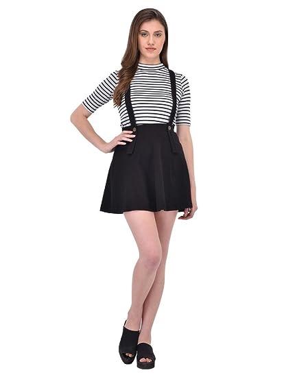 047daffe5ce8 Rigo Black Suspender Skater Skirt for Women  Amazon.in  Clothing ...