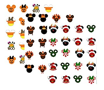 Halloween Thanksgiving Christmas Clipart.60 Fall Winter Holiday Mouseketeers Theme Nail Art Decals Halloween Thanksgiving Christmas