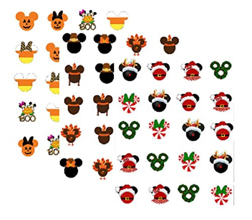 60 Fall/Winter Holiday Mouseketeers Theme Nail Art Decals (Halloween, Thanksgiving, Christmas) ()