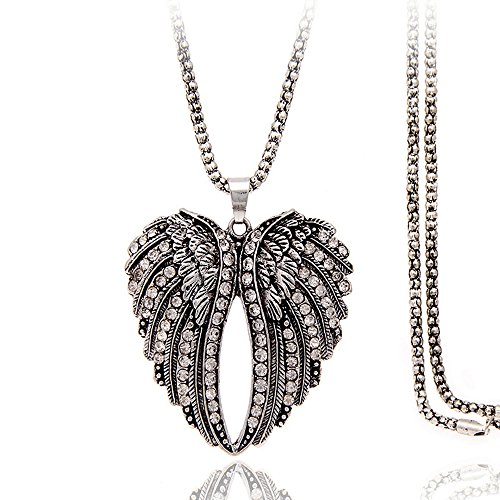 (CHUYUN Vintage Double Angel Wings Heart Pendant Long Chain Sweater Necklace Accessories)