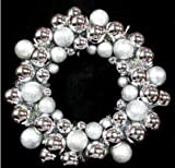Queens of Christmas BAT-BWR-16-SLV-PW Silver Ball Christmas Wreath with Battery Powered Pure White LED, 16''