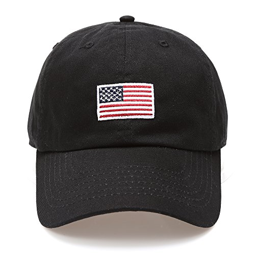 MIRMARU USA American Flag Embroidered 100% Cotton Low Profile Adjustable Strap Baseball Cap Hat -