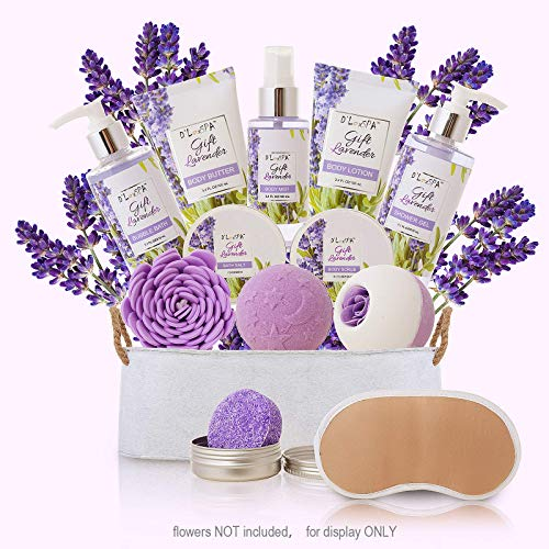 Spa Gift Baskets Bath and Body for Women Lavender - At Home Spa Kit Mothers Day Spa Gifts Ideas - Luxury 13pcs with Bath Bombs, Shampoo Bar, Eye Mask, Shower Gel, Bubble Bath, Salts, Body Scrub Lotion