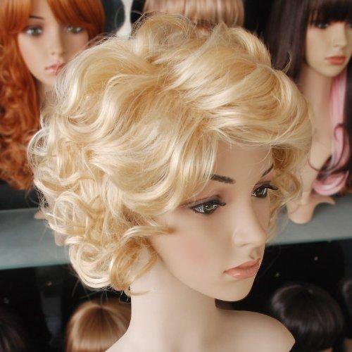 Weeck Short Marilyn Monroe Blonde Girl's Wave Cosplay Wigs]()