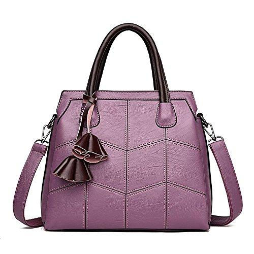 Penao Bordado línea PU bolsa de hombro solo, moda bolso de mano de tres pisos, tamaño 30cmx12cmx26cm Purple