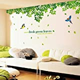 Oren Empower Fresh Green Leaves Extra Large Wall Stickers (Finished Size On Wall - 296(W) X 120(H) Cm)(2Pc/Set)