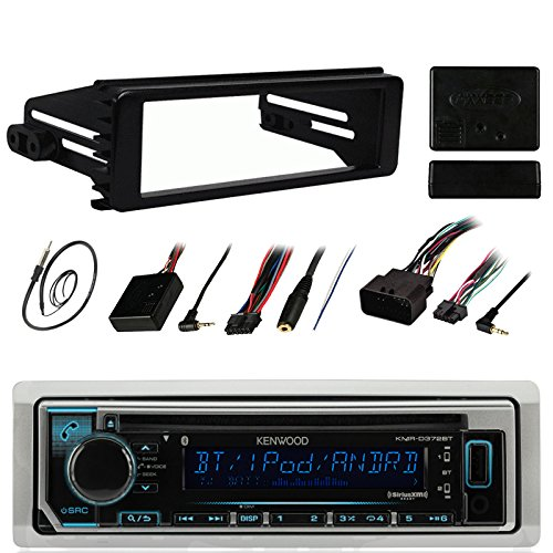 Kenwood KMRD372BT Stereo Receiver CD MP3 Player - Bundle Combo with Metra DIN Dash Installation Kit + Handle Bar Controller Module + Enrock 22 AM/FM Radio Antenna for 1998-2013 Harley Motorcycles