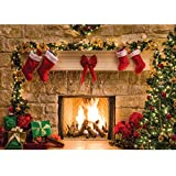SJOLOON 7x5ft Christmas Photography Backdrops Child Christmas Fireplace Decoration Background for Photo Studio (11209)