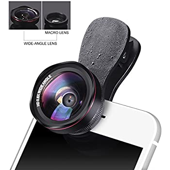 Universal HD Iphone Lens Kit – Luxsure 100° Wide Angle Lens + 15x Macro Lens, 4 Groups of 4 Pieces of Glass, No Distortion, Cell Phone Lens for iPhone 8/7 plus/7/6s/6s plus /SE/5/5s & Most Smartphones