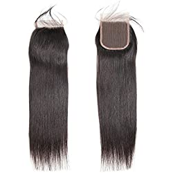 """Straight Free Part Closure 4""""X4""""Lace Closure with Baby Hair Brazilian Virgin Human Hair Natural Color 10 Inch"""