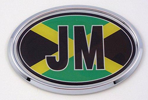 Jamaica JM Flag Car Chrome Emblem Bumper Sticker flag decal - Decal Oval Jamaica