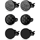 Jstyle 3 Pairs Stainless Steel Stud Earrings for Men Women Black Carbon Fiber Pierced 6mm