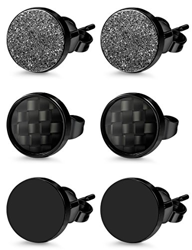 Jstyle 3 Pairs Stainless Steel Stud Earrings for Men Women Black Carbon Fiber Pierced 8mm ()