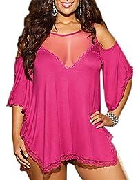 UTOVME Women Plus Size Babydoll Jersey Knit Camisole Dress Lace Trim Lingerie