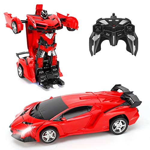 FIGROL Transform RC Car Robot, Remote Control Car Independent 2.4G Robot Deformation RC Car Toy with One Button Transformation & 360 Speed Drifting 1:18 Scale
