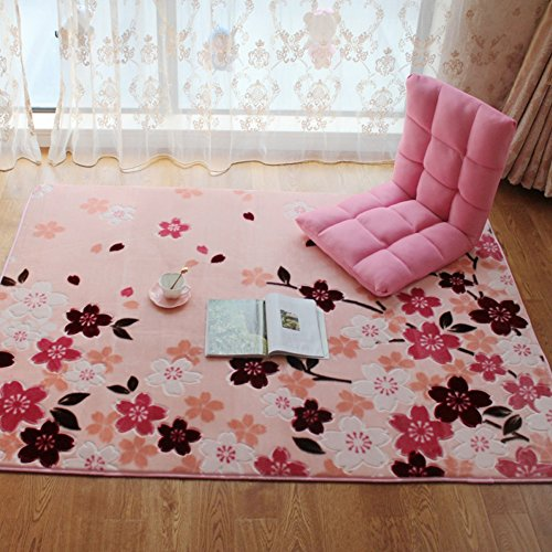 Romantic Cherry Blossoms Printed Carpet- MAXYOYO Living Room Bedroom Dining Room Rugs, Soft Short Velvet Area Rug Non-Slip Carpet Pad, 91 by 98 - Map Mall Square Of One