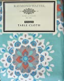 Raymond Waites Fabric Tablecloth Geometric Floral Pattern Orange Blue Taupe Cream on Sea Green -- 60 Inches x 84 Inches