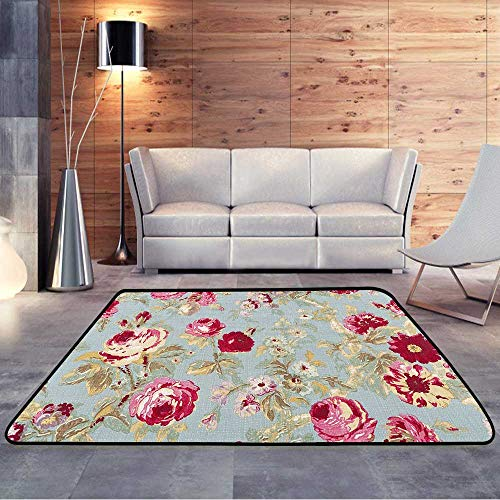 - Throw Rugs,Halifax Rose Sage Close Up Antique Floral FabricW 71
