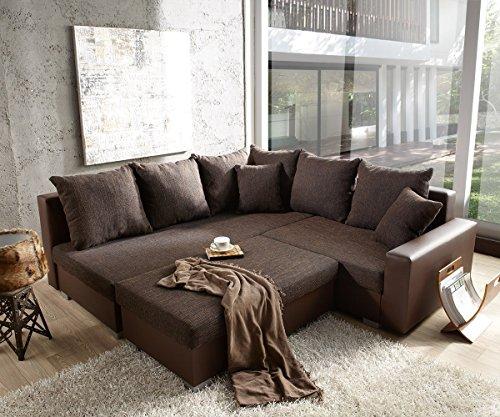 Couch Lavello mit Hocker Ecksofa L-Sofa (Eckcouch Links mit Hocker, Braun/Braun)