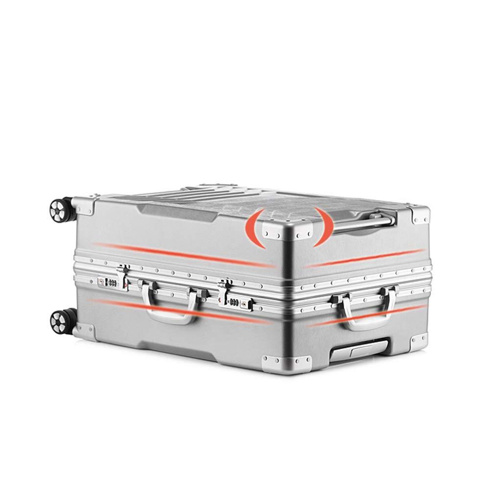 アルミフレームトロリーケース、単色ユニバーサルホイール荷物、ハードケース搭乗パスワードロックスーツケース 20inches Silver B07Q6PRVNX