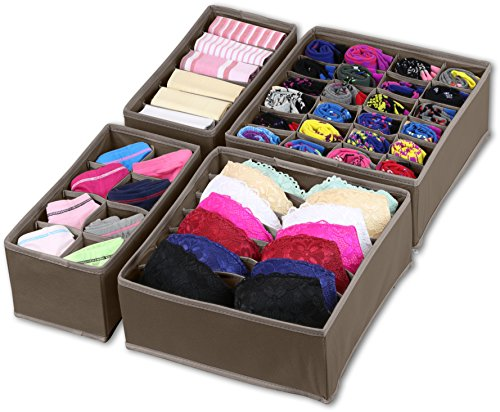 Simple Houseware Closet Underwear Organizer Drawer Divider 4 Set, Brown (Ideas Bedroom For Tiny A)