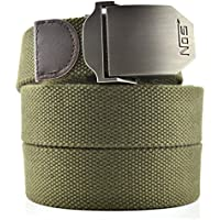 Men's Canvas Web Belt Military Style With US Belt Buckle & 50