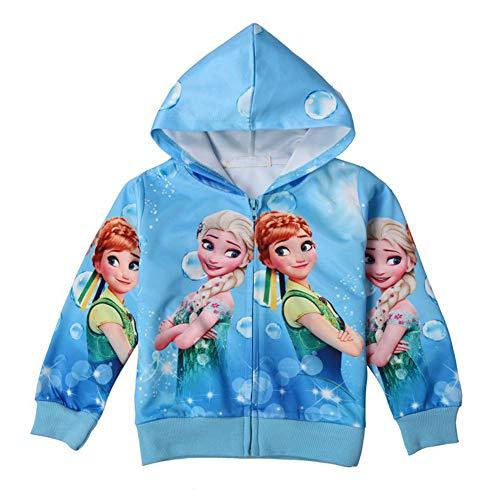 WNQY Toddler Zip Hoodie Little Princess Girls Elsa Sweatshirt Children Coat Jacket Outwear (Blue,120/6-7Y)