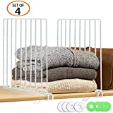 TOPHOUSE 4 Pack Metal Shelf Divider for Closet with 8 Clothing Size Dividers Round Hangers Closet Dividers(White)