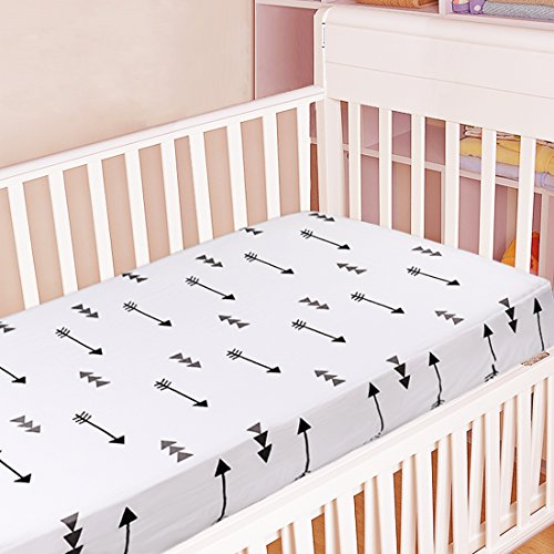 Kyapoo Crib Sheet 100% Cotton Arrow and Baby Protective Mattress Protector Hypoallergenic Breath ...
