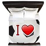 King Duvet Cover I Love Soccer Football Futbol
