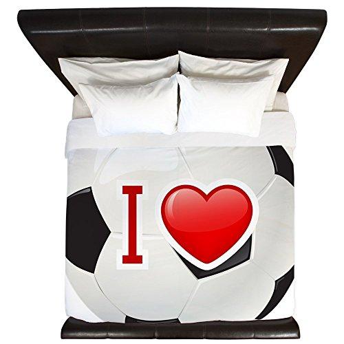 King Duvet Cover I Love Soccer Football Futbol by Royal Lion