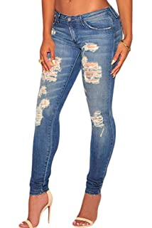f6e2ce00ec9 Burvogue Women Stretch Ripped Distressed Skinny Jeans Denim Pants at ...