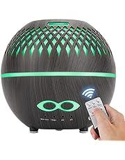 EXCEART Difusor de Aceite Esencial de Aroma Control Remoto Humidificador Antisecado de Mesa para Sala de Estar en El Hogar Dormitorio 400 Ml Grano de Madera Oscura